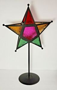 "Patterned Colors Stained Glass STAR Tealight Votive Candle 17"" Table Metal Stand"