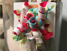 Gymboree Pair of Curly Q Double Hair Clips Flowers, Hot Pink, Green, Blue, White
