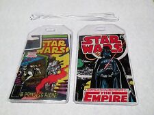 SET OF TWO Star Wars retro Comic Book Fabric Luggage Tags geek travel accessory