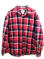 Eddie Bauer Button Down Shirt Mens XL Red Blue Plaid Long Sleeve Cotton Flannel
