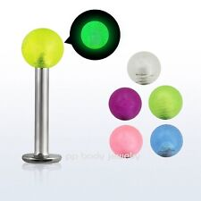 """1PC. 16G~1/4""""- 1/2"""" Surgical Steel with """"Glow- n the Dark"""" Ball Labret & Monroe"""