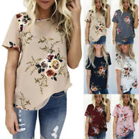 Fashion Womens Floral Printed Tops Blouse Ladies Short Sleeve T-Shirt Plus Size
