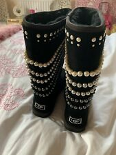 UGG  BOOTS LIMITED EDTION PEARL  CRYSTAL BLACK TALL SHEEPSKIN SHEARLING SIZE 39