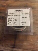 Platindraht Pt 99.99 10cm Heraeus Platinum Wire 0,075 mm Platin Draht