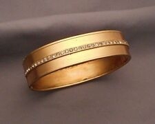 Old Victorian Gold Filled Hinged Bangle Bracelet - Row of Tiny Paste Rhinestones