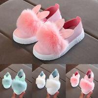 Children Toddler Kids Baby Fur Sneaker Girls Bunny Soft Anti-slip Single Shoes A