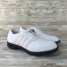 Adidas Traxion Lite Women Size 8 White Leather Pink Athletic Training Golf Shoes