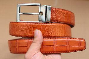 """No Jointed Orange Real Alligator Crocodile Leather Skin Men's Belt - W 1.5"""""""