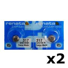 2 X Renata 317 Watch Battery 1.55v Sr516sw Mercury
