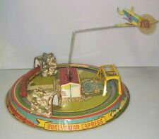 "Marx Honeymoon Express ""Glendale Airfield""  Tin Litho Wind-Up, Vintage Very Nice"