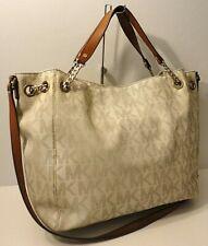 Michael Kors MK Print Vanila Brown Leather Trim Tote Office Shoulder Bag Purse