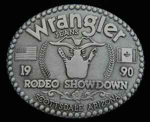 1990 VINTAGE WRANGLER RODEO SHOWDOWN BELT BUCKLE...OVERSTOCK BLOWOUT!