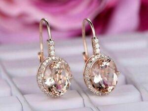 14K Rose Gold Finish  6Ct Pear Cut Peach Morganite Huggie/Drop Women's Earrings