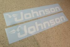 "Johnson Vintage Outboard Motor Decals 14"" White FREE SHIP + FREE Fish Decal!"