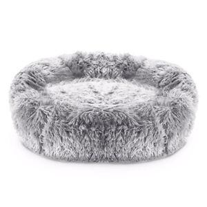 Pawamore Light Grey Large Soft Plush Pet Calming Donut Cushion Nest Cat Dog Bed