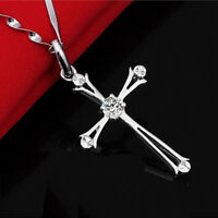 Womens Jewelry Silver Cross Crystal Charm Chain Necklace Pendant Fashion Gift