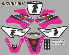 Suzuki JR50 PINK Graphics Decals Fullset laminated stickers motocross