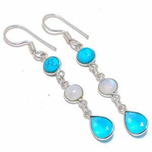 "Blue Onyx & Rainbow Moonstone 925 Sterling Silver Jewelry Earring 2.4"" T8625"