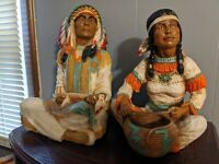 Vintage Native American Indian Statues lot Chief Universal Statuary Corp Signed