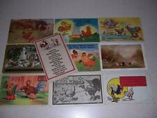 1909-1940s CHICKEN/ROOSTER ANTIQUE & LINEN POSTCARD LOT of 10 DIFF