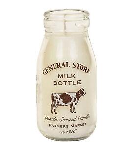Vanilla Scented Candle Vintage Milk Bottle Design General Store Farmers Market