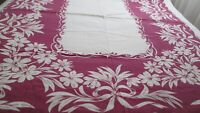 Vintage Tablecloth Mid Century Purple Floral Bows White 52 x 60 Nice Weight