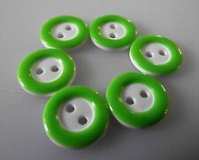 6 BOUTONS Vert & Blanc * 12 mm 1,2 cm * 2 trous Button sewing neuf lot couture