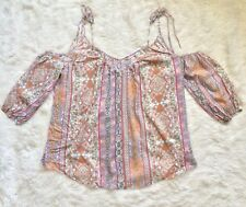 Victoria's Secret Cold Sholder Boho Printed Flowy Oversized Top Small