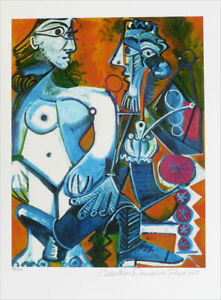 Pablo PICASSO Man With Nude Woman Signed Giclee Art Print 20 x 13