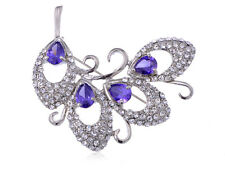 Elegant Teardrop Cut Rhinestone Abstract Swirl of Leaves Fashion Pin Brooch Gift
