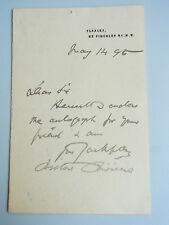 MALER Briton Rivière RA (1840-1920): signierter Brief FLAXLEY 1895 / autograph