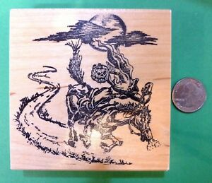 Headless Horseman Wood Mounted Rubber Stamp for Halloween