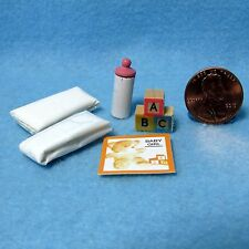 Dollhouse Miniature Baby Nursery Accessory Set ~ Bottle, Diapers, Etc... IM65286