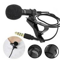 US- Mini Lavalier Mic Microphone For Cell Phone PC Recording 3.5mm Clip-on Lapel