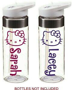 personalised Hello Kitty name stickers school drinks bottle kids school