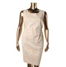 NEW $149 Anne Klein Formal Dress 16W Beige on Beige Embossed Leopard Print