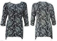 NEW SIZE 14 TO 22 BLACK WHITE PRINT STRETCH TUNIC TOP TURN UP 3/4 SLEEVE  BNWT