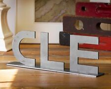 Cleveland Ohio CLE Sign Home Decor Metal Industrial Design Rust - Raw Steel