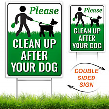 """Clean Up After Your Dog 12"""" x 9"""" Yard Sign with Metal Wire H-Stakes Included 
