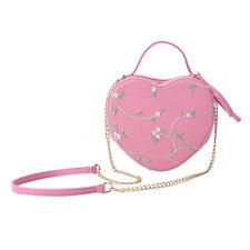 Melocotón Rosa Imitación Cuero Día de San Valentín Forma de Corazón Bordado Cruzado Mochila Bolso Tote Bag