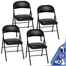 Set of 4 Padded Folding Office Chair Faux Leather Strong Metal Computer Chair