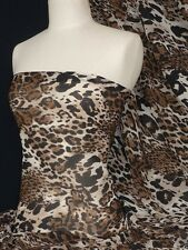 Brown big leopard silk touch chiffon sheer fabric Q570 BR