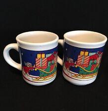 Vintage Holiday Elf Pushing Santa Sleigh Christmas Mug Made in Chile Set of 2