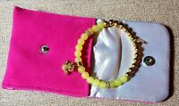 Rustic cuff fashion bracelet Shannon Yellow With Gold Frog Charm