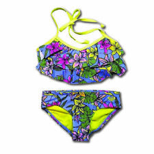 Roxy Girl Black Border Double Casing Tri Bikini Set Big Girl/'s Swim Size 10 NWT