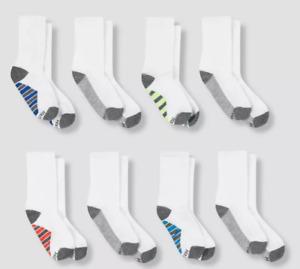 NWT Hanes Premium Boys' 8pk Crew Athletic Socks - White L Shoe SIze 3-9