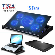 US Gaming Laptop Cooler Notebook Cooling Pad 5 Silent Blue LED Fan Dual USB