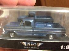 NEO Scale Models 1:87 HO scale 1968 Ford F100 pickup medium blue metallic