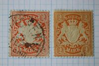 Germany Bavaria sc#55 used 55a Mint MH toned paper cv$98.00