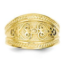 14 KT Yellow Gold Polished Byzantine Finish Entruscan Design Cigar Band Ring NEW